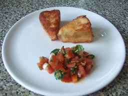 Fried Camembert with Spicy Tomato Salsa